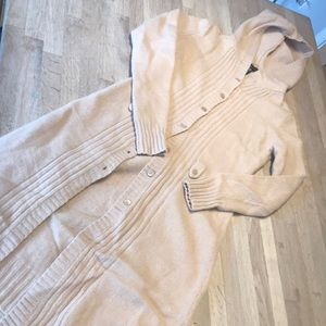 BCBGMaxAzria long angora blend hooded cardigan, S
